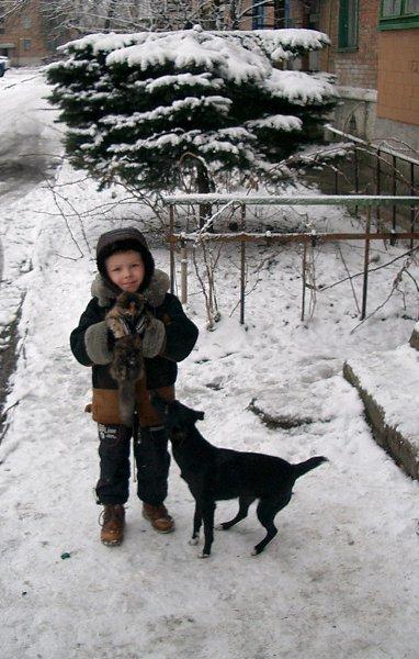 Зимнее фото: внук с домашними любимцами - Мила-Я*** (симпатия), Ростов-на-Дону