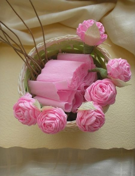 Цветы из гофрированной бумаги - 3