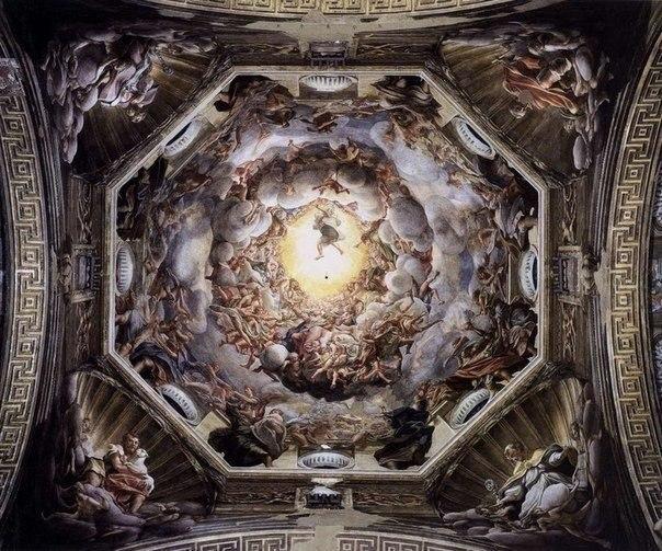 Антонио да Корреджо — «Вознесение Богоматери», 1526–30, фреска на куполе Пармского собора