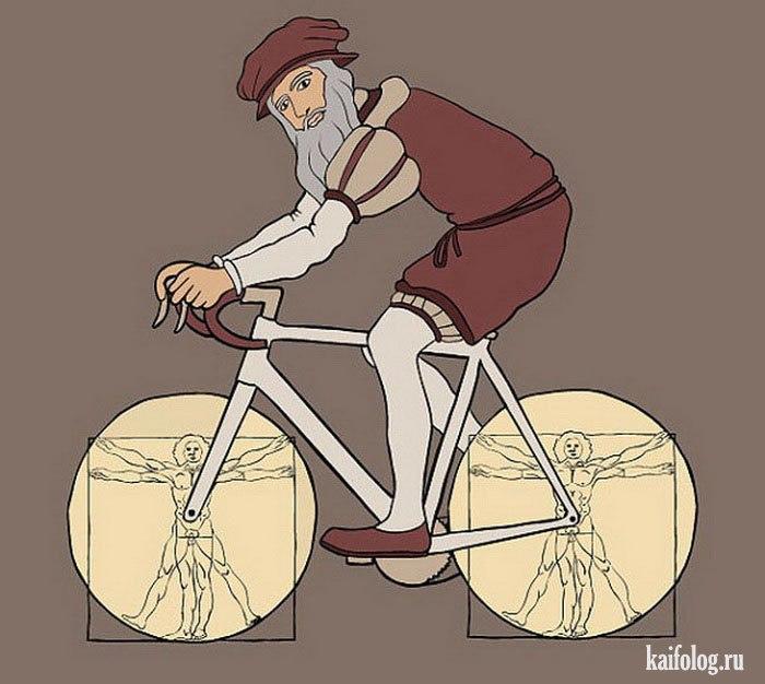 Ведьмины круги, прикольные рисунки велосипедов