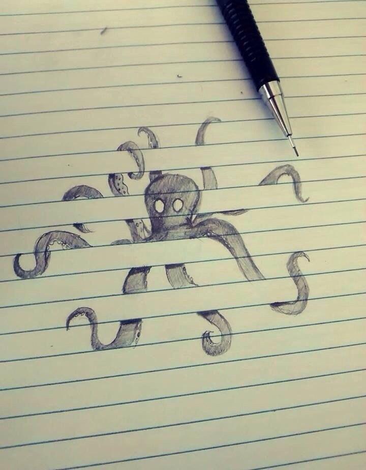 мини рисунки в тетради карандашом