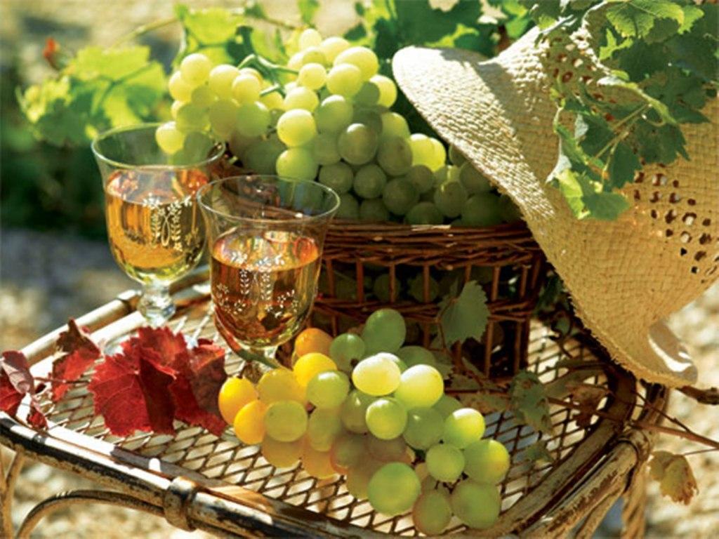 Открытка доброе утро осень виноград