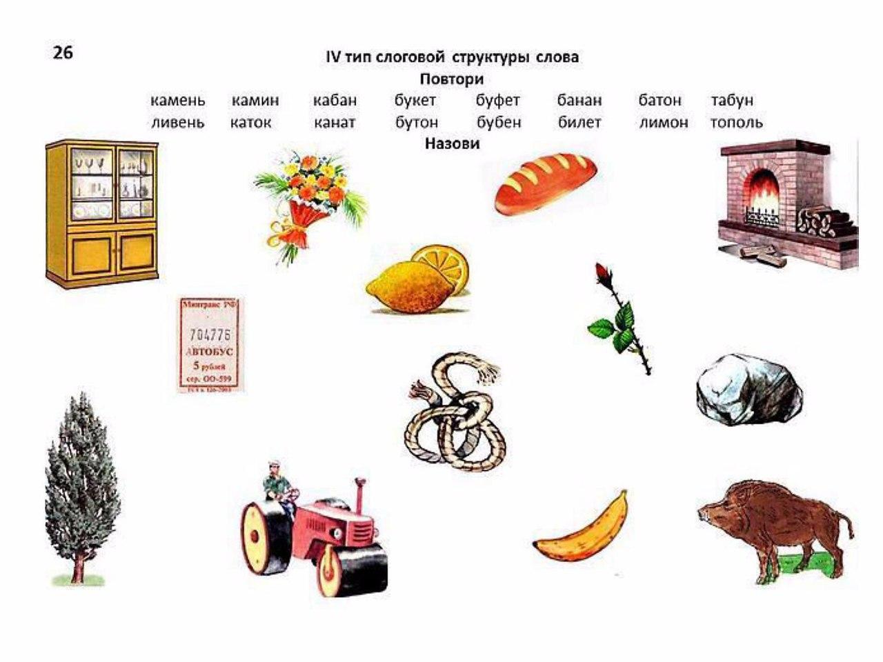 Двусложные слова с картинками логопедия