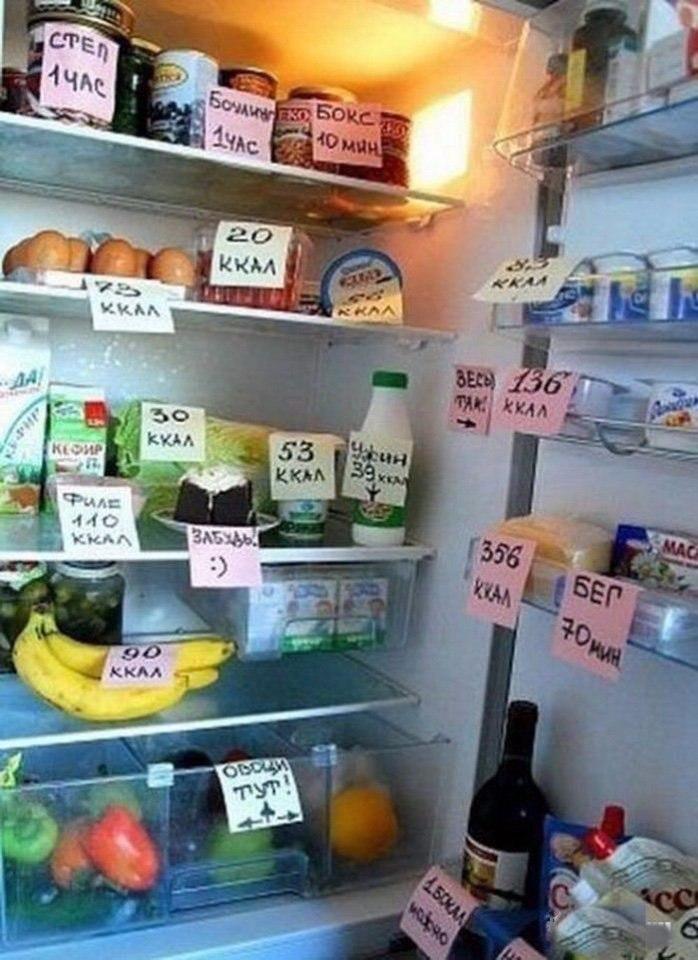 Демотиватор для похудения на холодильник