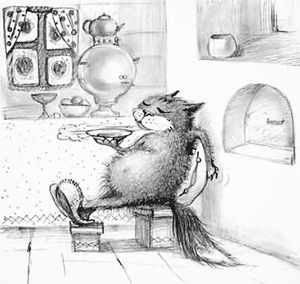 Смешная картинка про кота с чаем
