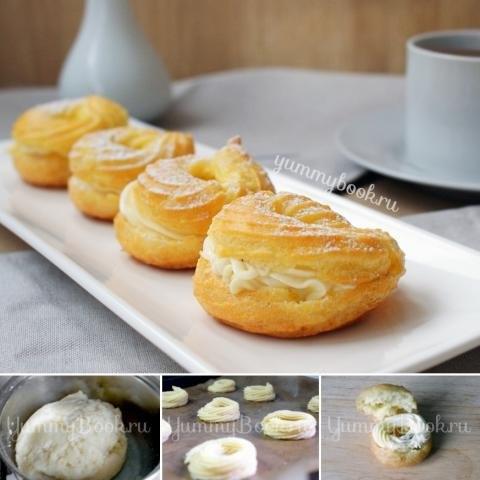 Пирожные «Творожное кольцо».Для теста:1 ст. воды100 г. масла сливочного1 ст. муки пшеничной ...