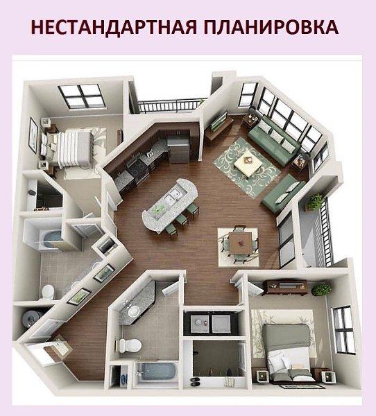 Идеальное решение для такой угловой квартиры